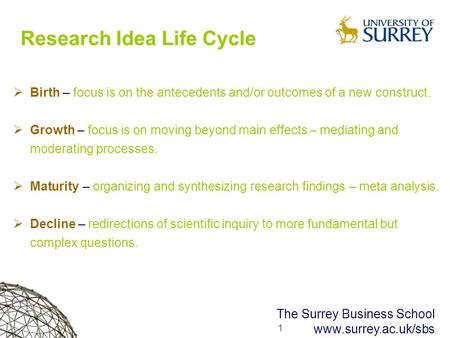 1 1 The Surrey Business School www.surrey.ac.uk/sbs Research Idea Life Cycle  Birth – focus is on the antecedents and/or outcomes of a new construct.