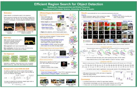 Efficient Region Search for Object Detection Sudheendra Vijayanarasimhan and Kristen Grauman Department of Computer Science, University of Texas at Austin.