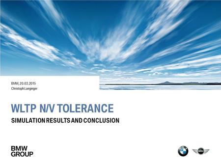 WLTP N/v tolerance Simulation results and conclusion BMW,