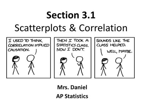 Section 3.1 Scatterplots & Correlation Mrs. Daniel AP Statistics.