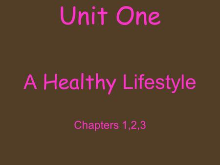 A Healthy Lifestyle Chapters 1,2,3 Unit One. Fact or Myth? 1.Teens need more sleep then adults do? 2.Being an effective communicator can improve your.