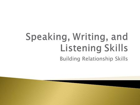 Building Relationship Skills.  Compare and contrast verbal and nonverbal communication  List 4 strategies for speaking effectively  Describe how to.