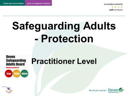 Including Safeguarding Adults - Protection Practitioner Level.