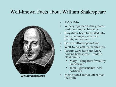 12 Facts About William Shakespeare