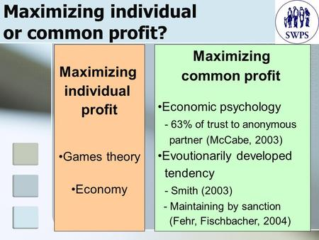 1 Maximizing individual or common profit? Maximizing individual profit Games theory Economy Maximizing common profit Economic psychology - 63% of trust.