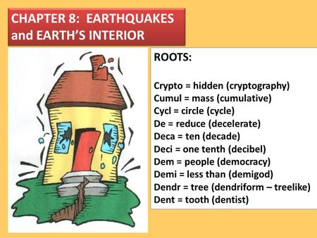 CHAPTER 8: EARTHQUAKES and EARTH'S INTERIOR ROOTS: Crypto = hidden (cryptography) Cumul = mass (cumulative) Cycl = circle (cycle) De = reduce (decelerate)