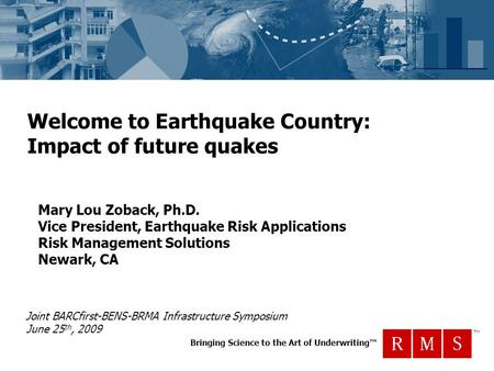 Bringing Science to the Art of Underwriting™ TM Welcome to Earthquake Country: Impact of future quakes Mary Lou Zoback, Ph.D. Vice President, Earthquake.
