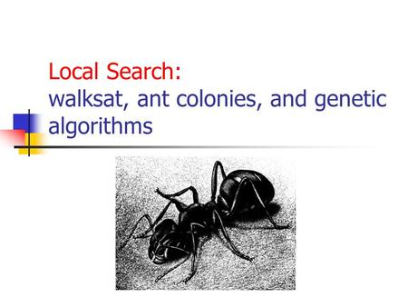 Local Search: walksat, ant colonies, and genetic algorithms.