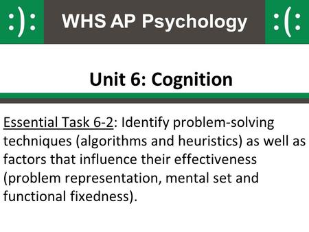 WHS AP Psychology Unit 6: Cognition Essential Task 6-2: Identify problem-solving techniques (algorithms and heuristics) as well as factors that influence.