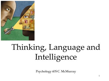 Thinking, Language and Intelligence Psychology 40S C. McMurray
