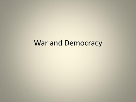 War and Democracy Ancient Greece Greece is a loose collection of individual city/states That is, the primary political affiliation for people is to the.