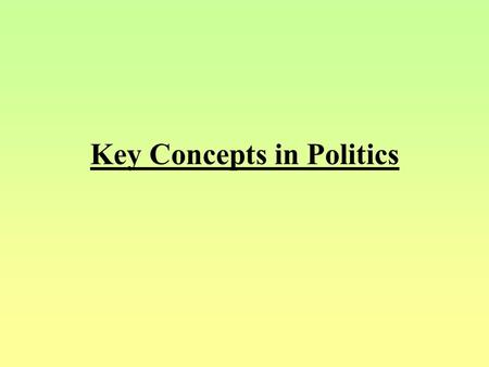 Key Concepts in Politics What is Politics? Politics is the study of conflict resolution, avoiding resorting to force. Why does conflict/ Politics exist?