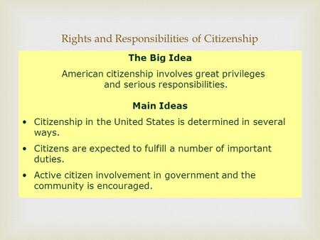  Rights and Responsibilities of Citizenship The Big Idea American citizenship involves great privileges and serious responsibilities. Main Ideas Citizenship.
