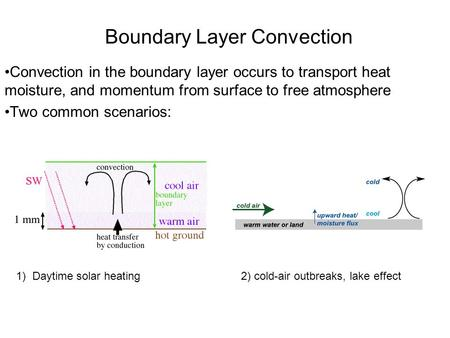 Boundary Layer Convection Convection in the boundary layer occurs to transport heat moisture, and momentum from surface to free atmosphere Two common scenarios: