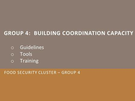 GROUP 4: BUILDING COORDINATION CAPACITY o Guidelines o Tools o Training FOOD SECURITY CLUSTER – GROUP 4.