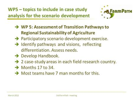 WP5 – topics to include in case study analysis for the scenario development  WP 5: Assessment of Transition Pathways to Regional Sustainability of Agriculture.