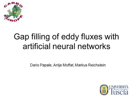 Gap filling of eddy fluxes with artificial neural networks
