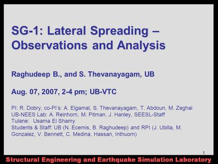 1 SG-1: Lateral Spreading – Observations and Analysis Raghudeep B., and S. Thevanayagam, UB Aug. 07, 2007, 2-4 pm; UB-VTC SG-1: Lateral Spreading – Observations.