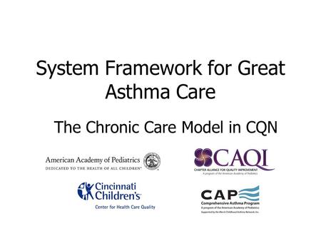 The Chronic Care Model in CQN System Framework for Great Asthma Care.