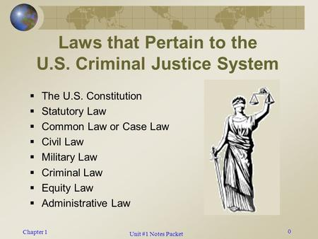 Chapter 1 0 Laws that Pertain to the U.S. Criminal Justice System  The U.S. Constitution  Statutory Law  Common Law or Case Law  Civil Law  Military.