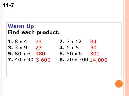 11-7 Multiplying Integers Warm Up Find each product. 1. 8 42. 7 12 3. 3 94. 6 5 5. 80 66. 50 6 7. 40 908. 20 700 32 84 27 30 480 300 3,600 14,000.