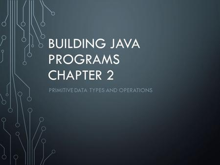BUILDING JAVA PROGRAMS CHAPTER 2 PRIMITIVE DATA TYPES AND OPERATIONS.