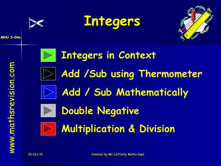 MNU 3-04a 25-Oct-15Created by Mr. Lafferty Maths Dept Integers Integers in Context Add /Sub using Thermometer www.mathsrevision.com Add / Sub Mathematically.