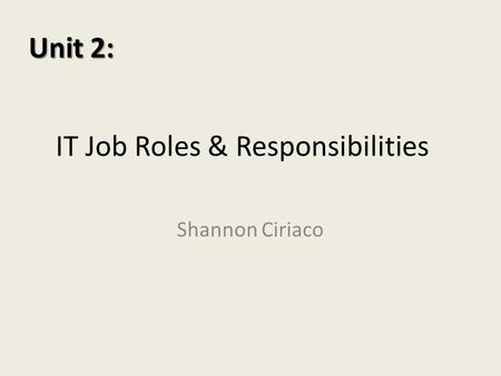 IT Job Roles & Responsibilities Shannon Ciriaco Unit 2: