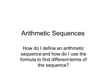 how to find arithmetic sequence on calculator