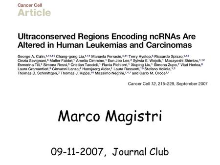 "Marco Magistri 09-11-2007, Journal Club. A non-coding RNA (ncRNA) is any RNA molecule that is not translated into a protein ""Structural genes encode proteins."