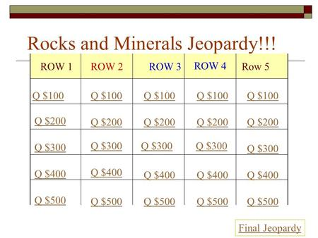 Rocks and Minerals Jeopardy!!! ROW 1ROW 2ROW 3 ROW 4 Row 5 Q $100 Q $200 Q $300 Q $400 Q $500 Q $100 Q $200 Q $300 Q $400 Q $500 Final Jeopardy.