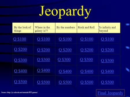 Jeopardy By the look of things Where in the galaxy is?? By the numbersRock and Roll Roll To infinity and beyond Q $100 Q $200 Q $300 Q $400 Q $500 Q $100.