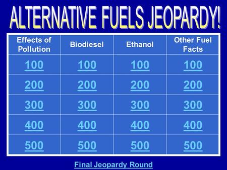 Effects of Pollution BiodieselEthanol Other Fuel Facts 100 200 300 400 500 Final Jeopardy Round.