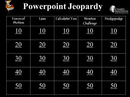 Powerpoint Jeopardy Forces of Motion LawsCalculatin' FunNewton Challenge Hodgepodge 10 20 30 40 50.