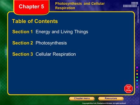 Copyright © by Holt, Rinehart and Winston. All rights reserved. ResourcesChapter menu Photosynthesis and Cellular Respiration Chapter 5 Table of Contents.