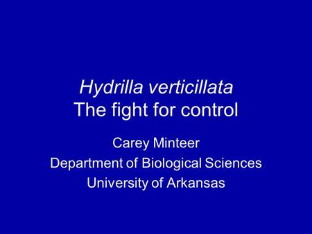 Hydrilla verticillata The fight for control Carey Minteer Department of Biological Sciences University of Arkansas.
