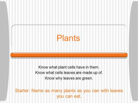 Plants Know what plant cells have in them. Know what cells leaves are made up of. Know why leaves are green. Starter: Name as many plants as you can with.