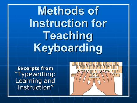 "Methods of Instruction for Teaching Keyboarding Excerpts from ""Typewriting: Learning and Instruction"""
