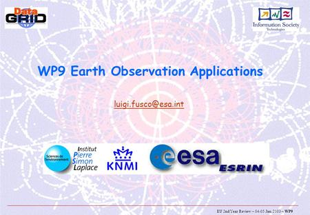 EU 2nd Year Review – 04-05 Jan. 2003 – WP9 WP9 Earth Observation Applications
