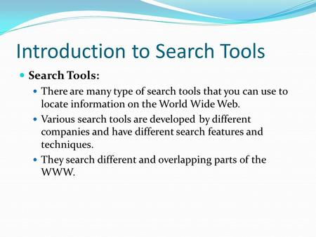 Introduction to Search Tools