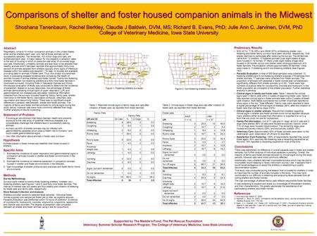 Comparisons of shelter and foster housed companion animals in the Midwest Shoshana Tanenbaum, Rachel Berkley, Claudia J Baldwin, DVM, MS; Richard B. Evans,