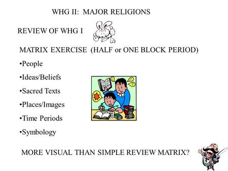 WHG II: MAJOR RELIGIONS REVIEW OF WHG I MATRIX EXERCISE (HALF or ONE BLOCK PERIOD) People Ideas/Beliefs Sacred Texts Places/Images Time Periods Symbology.