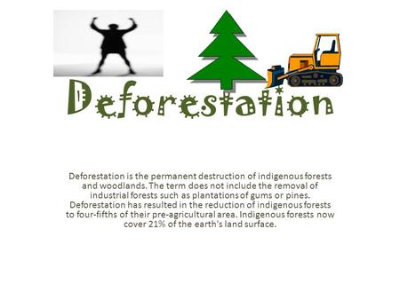 Deforestation Deforestation is the permanent destruction of indigenous forests and woodlands. The term does not include the removal of industrial forests.