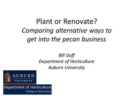 Plant or Renovate? Comparing alternative ways to get into the pecan business Bill Goff Department of Horticulture Auburn University.