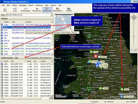 Confidential 0 - Green vehicles engine on - Blue vehicles engine off Selected vehicle current days activity The map size shown will be relevant to the.
