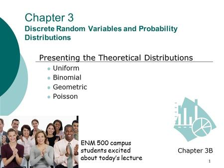 1 Chapter 3 Discrete Random Variables and Probability Distributions Presenting the Theoretical Distributions Uniform Binomial Geometric Poisson Chapter.