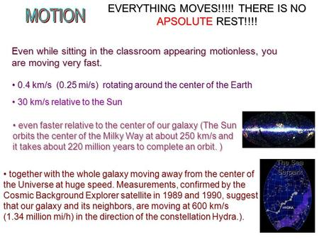 EVERYTHING MOVES!!!!! THERE IS NO APSOLUTE REST!!!! together with the whole galaxy moving away from the center <strong>of</strong> the Universe at huge <strong>speed</strong>. Measurements,