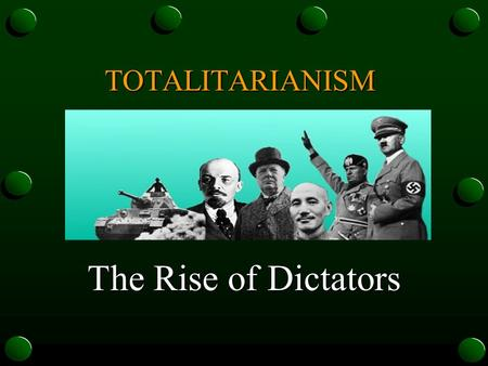 The Rise of Dictators TOTALITARIANISM. Totalitarianism: A government that takes total, centralized, state control over every aspect of public and private.