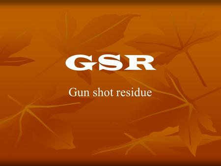 gun shot residue thesis Ijser is an open access international journal or a large number of high quality and peer reviewed research publishing in all the fields of science, engineering and.