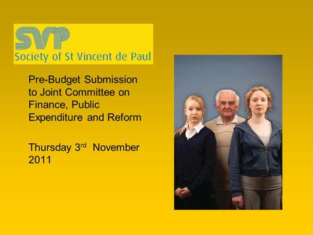 Pre-Budget Submission to Joint Committee on Finance, Public Expenditure and Reform Thursday 3 rd November 2011.